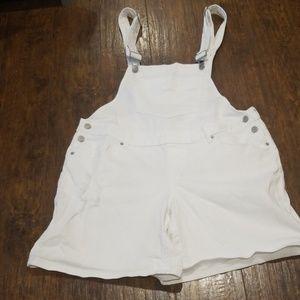 """White Denim bib front shorts """"overall"""""""